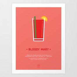 Bloody Mary Cocktail Recipe Art Print Art Print