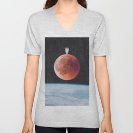 Astronaut on the Blood Moon over Earth-Space Travel Unisex V-Neck