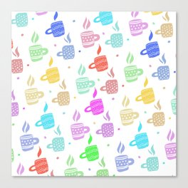 Modern pastel winter holidays coffee hand drawn pattern Canvas Print