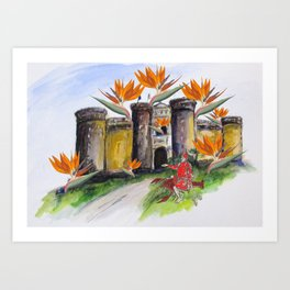 Castle Nuovo Under Attack Art Print
