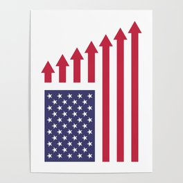 American Flag with Winning Stripes Poster