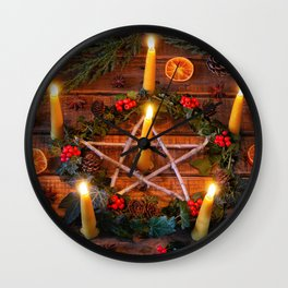 Images Christmas Orange fruit Star anise Illicium  Wall Clock