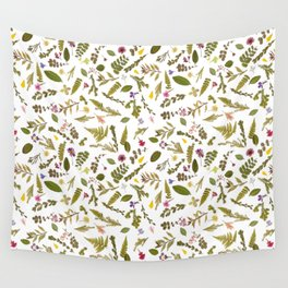 Greenery Floral Pressed Flowers Wall Tapestry