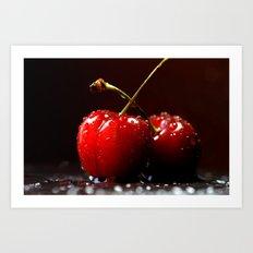 Red cherry macro  Art Print