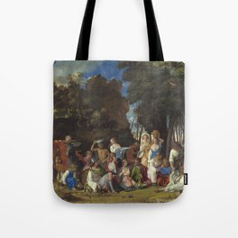 Giovanni Bellini and Titian The Feast of the Gods 1514 1529 Painting Tote Bag