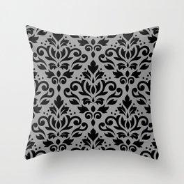 Scroll Damask Pattern Black on Gray Throw Pillow