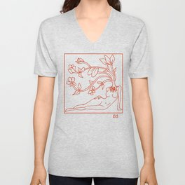 At Dawn We Grow, Red Unisex V-Neck