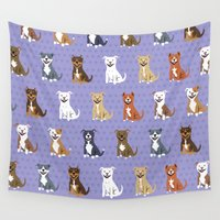 pit bull Wall Tapestries featuring American PIT BULL TERRIERS by Doggie Drawings