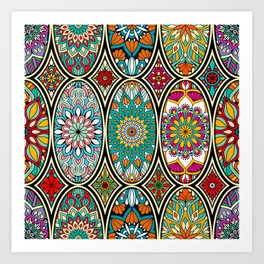 Mandala colorful floral oval pattern Art Print