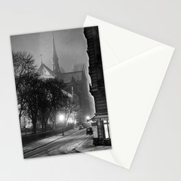 Notre Dame Cathedral, Winter Paris with snowfall black and white photograph / black and white photography Stationery Cards