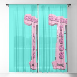 Cha-Cha's Tacos Retro Vintage Pink Sign Sheer Curtain
