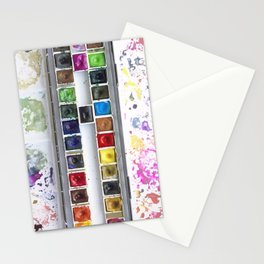 Messy Watercolor Painting Palette Photograph Stationery Cards
