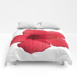 Stunning Red Hibiscus Flower Comforters