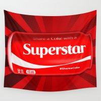 coke Wall Tapestries featuring Coca Cola - Coke - Superstar - Pop Art  by William Cuccio aka WCSmack