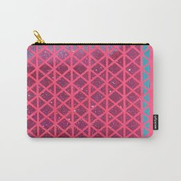 Pink with Pink Glitter Fade + Turquoise  Carry-All Pouch