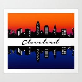 Cleveland Skyline color Art Print