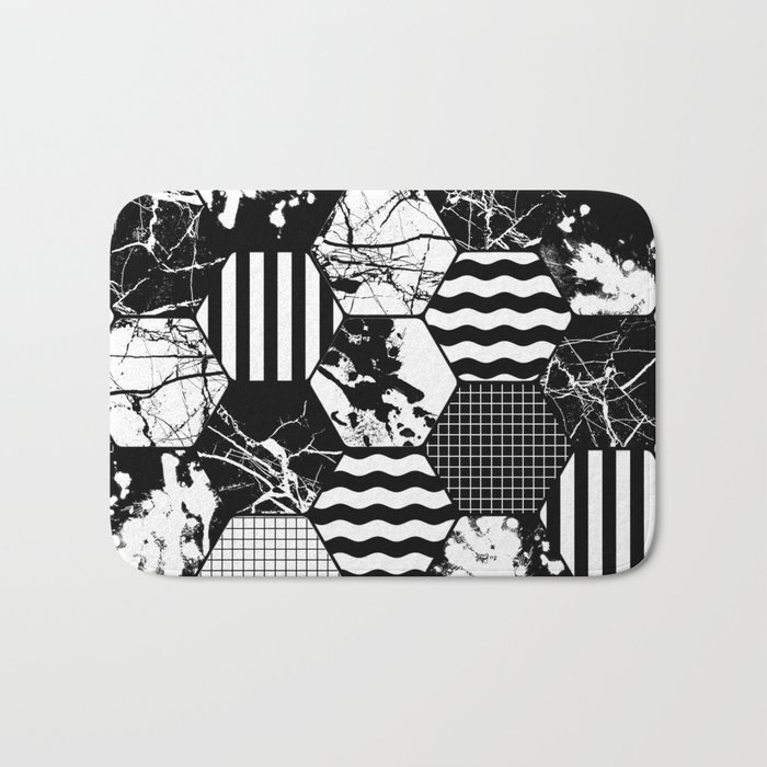 Hexual - Black and white, honeycomb, hexagon pattern, stripes, paint splats, grid and marble Bath Mat