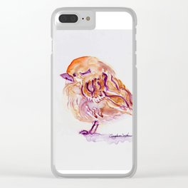 Little Purple Brown Sparrow watercolor by CheyAnne Sexton Clear iPhone Case