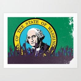 Washington State Flag with Audience Art Print