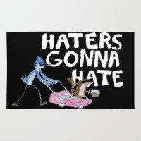 "regular show Area & Throw Rugs featuring ""Haters Gonna Hate"" - The Regular Show  by Renatta Maniski-Luke"