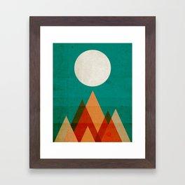 Full moon over Sahara desert Framed Art Print