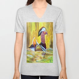 Colorful Mandarin Duck Floating on the water Unisex V-Neck
