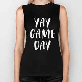 Yay Game Day Football Sports Team White Text Biker Tank
