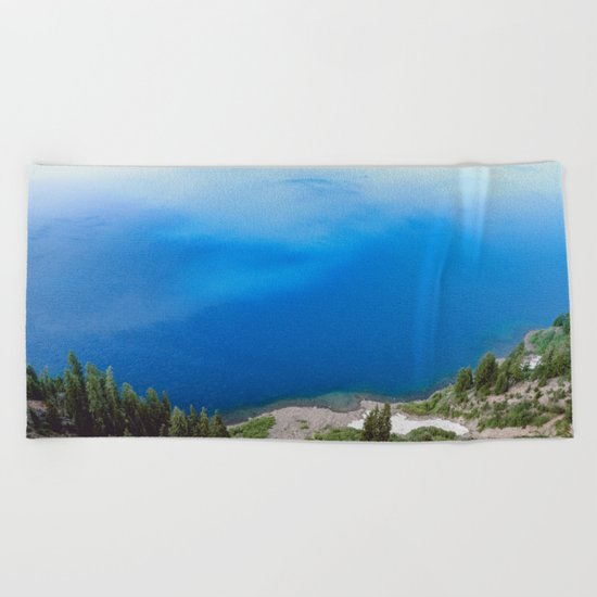 Crater Lake Cloud Reflection Beach Towel