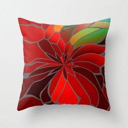 Abstract Poinsettia Throw Pillow