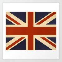 british flag Art Prints featuring British Flag Vintage Illustration by MY  HOME
