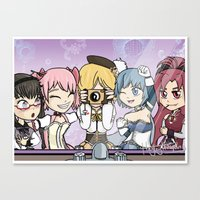 madoka magica Canvas Prints featuring Madoka Magica Selfie by Square Aquarium