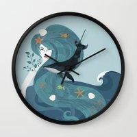 life aquatic Wall Clocks featuring Aquatic Life of a Seaflower by Alexandra Gallant