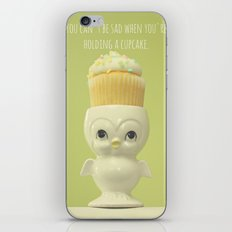 You can't be sad when you're holding a cupcake. iPhone & iPod Skin