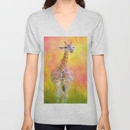 Tall Giraffe Loveliness  Unisex V-Neck