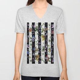 Vibrant Exotic Floral on Black and White Stripes Unisex V-Neck