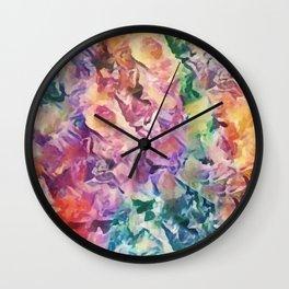 Bright Cheerful Mulitcolor Floral Abstract Wall Clock