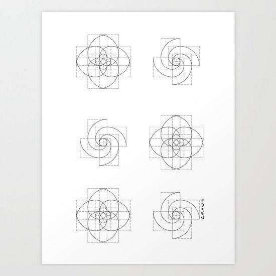 Fibonacci Flowers Pattern Art Print