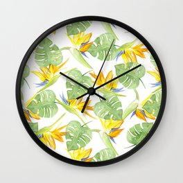 watercolor pattern tropical leaves and flowers bird of paradise Wall Clock