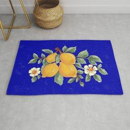 Sicilian blue pattern.Citrus,exotic art. Rug