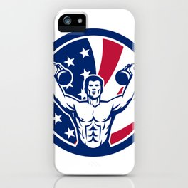 American Physical Fitness USA Flag Icon iPhone Case