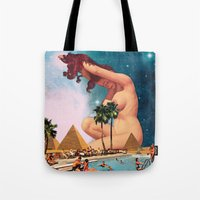 eugenia loli Tote Bags featuring The Sphinx by Eugenia Loli