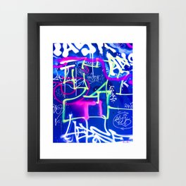 Blue Mood with Pink Language Framed Art Print