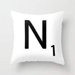 Letter N - Custom Scrabble Letter Tile Art - Scrabble N Initial Throw Pillow
