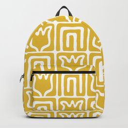 Mid Century Flower Garden Pattern 381 Mustard Yellow Backpack
