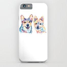 2 Dogs Colorful Watercolor Pet Portrait Painting iPhone Case