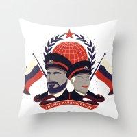 pacific rim Throw Pillows featuring Pacific Rim: Brave Kaidanovskys by MNM Studios