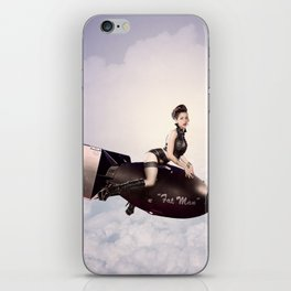 """""""Up and Atom"""" - The Playful Pinup - Military Bomb Pin-up Girl by Maxwell H. Johnson iPhone Skin"""