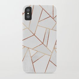 White Stone & Copper Lines iPhone Case