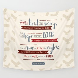 """""""Hope in the Lord"""" Hand-Lettered Bible Verse Wall Tapestry"""