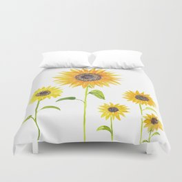 Sunflowers Watercolor Painting Duvet Cover